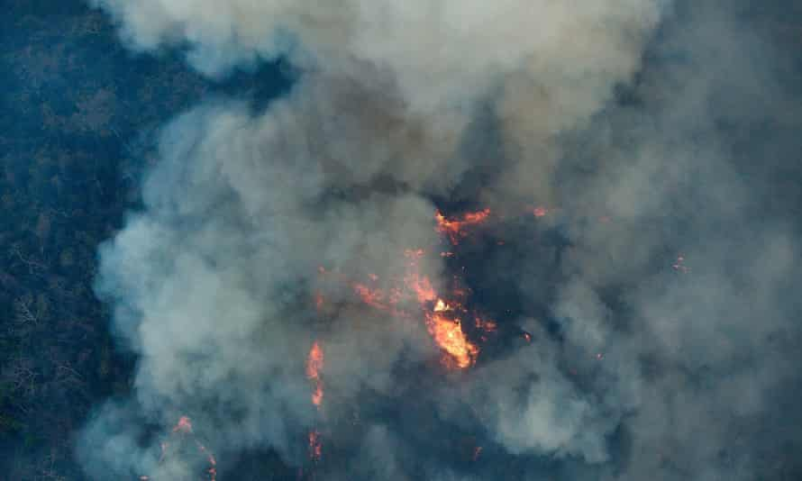 An aerial picture released by Greenpeace shows forest fires in the indigenous lands in Arariboia, Maranhão.