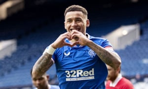 James Tavernier celebrates scoring Rangers' fourth goal as they hammered Aberdeen at Ibrox