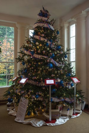 one of the christmas trees inside the white house