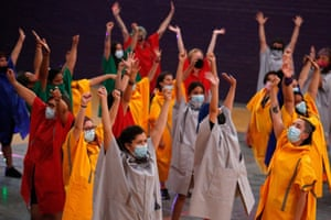 Members of the feminist group Las Tesis rehearse a new production for International Women's Day, in Santiago, Chile