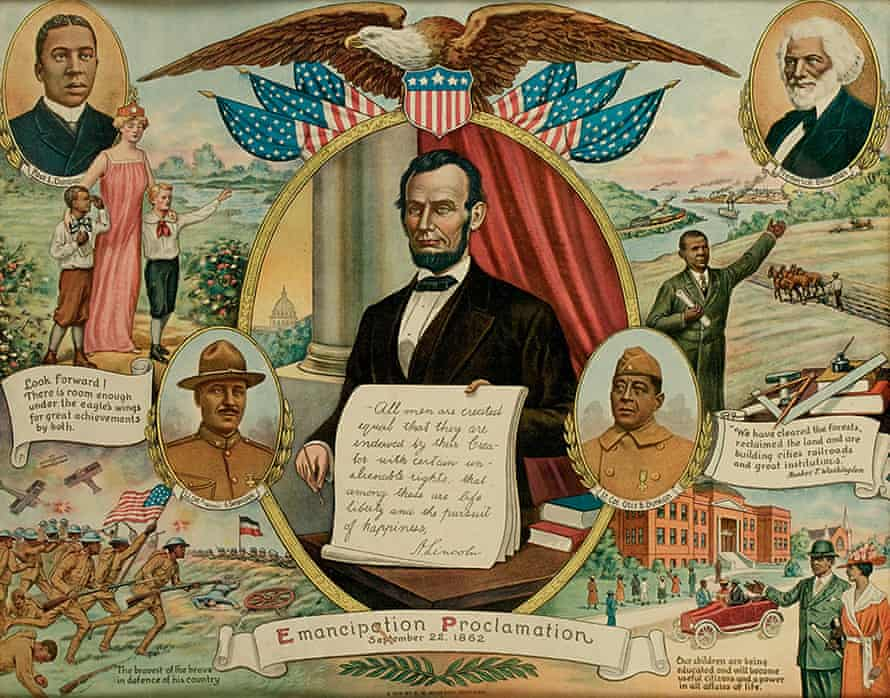 This 1919 chromolithographic print commemorates the emancipation proclamation and African American contributions to society.