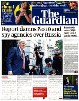 Guardian front page, Wednesday 22 July 2020