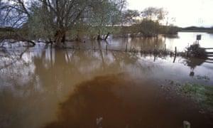 Slurry run off in a river