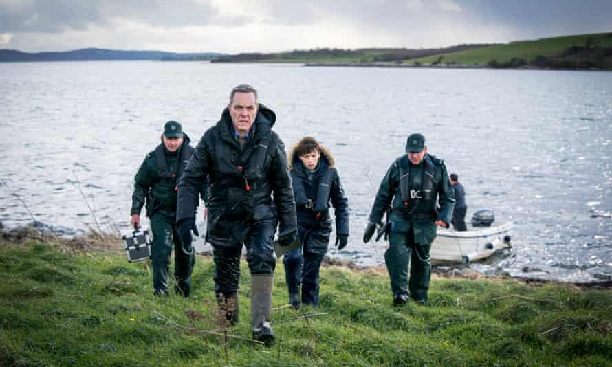 James Nesbitt, front, leads the cast of Bloodlands as detective Tom Brannick. The series is filmed around Strangford Lough.