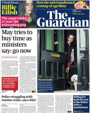Guardian front page, Friday 29 March 2019