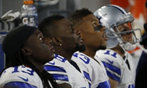 Dallas Cowboys receivers Lucky Whitehead (13), Dez Bryant (88), Terrance Williams (83) and Cole Beasley (11) look to the heavens.