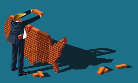 Illustration of Donald Trump building a brick wall in the shape of America