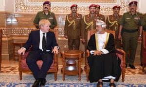 Boris Johnson (left) with Oman's newly sworn-in sultan, Haitham bin Tariq as-Said