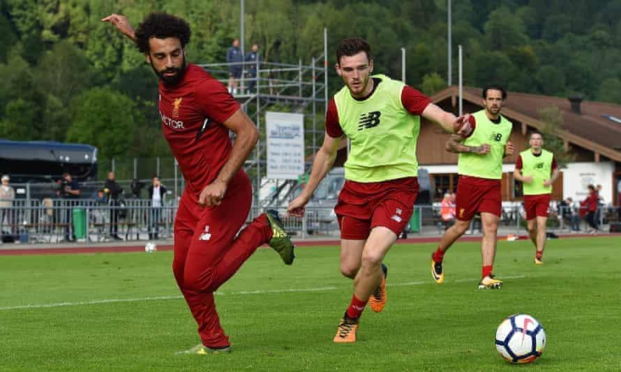 New signings Mohamed Salah and Andrew Robertson during a training session in Munich on 28 July 2017.
