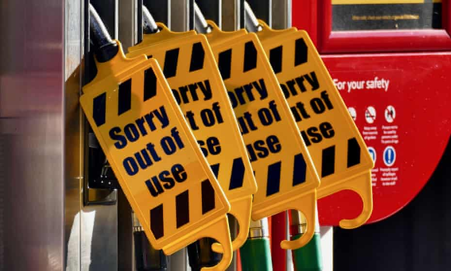 Out of use signs have been installed on some empty petrol and diesel pumps in Berkshire on Monday morning.