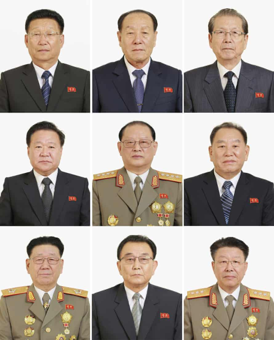 North Korean officials including Ri Yong-gil, bottom right, who was thought to have been executed.