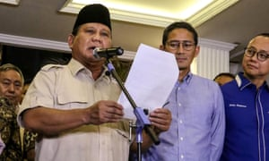 Prabowo Subianto reads a statement in Jakarta after the court ruling