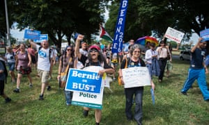 Bernie Sanders supporters outside the Democratic party convention in Philadelphia.