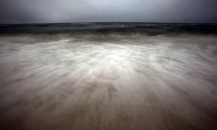 Waves roll on to the beach at Orange Beach, Alabama
