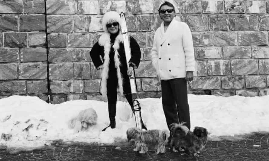 Richard Burton and Liz Taylor on a winter sports holiday.