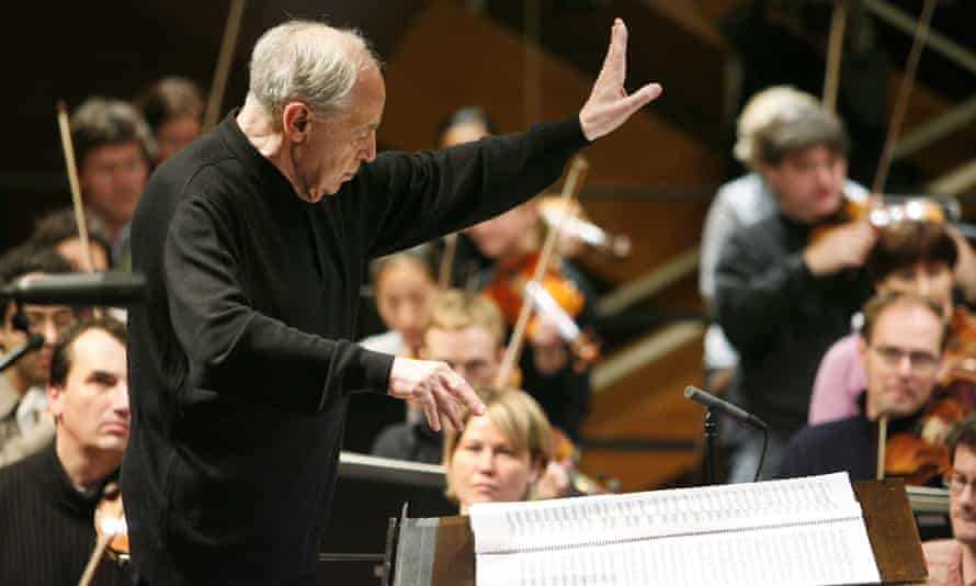 Boulez conducting the SWR Symphony Orchestra in Germany in 2008: 'undemonstrative to a fault'.