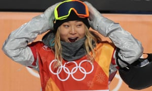 Chloe Kim takes in the applause in the halfpipe final