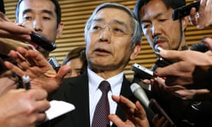 Haruhiko Kuroda speaks to reporters after a meeting with Shinzo Abe