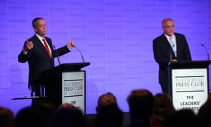 Scott Morrison and Bill Shorten at the National Press Club during the third and final leaders' debate of the 2019 Australian federal election campaign.