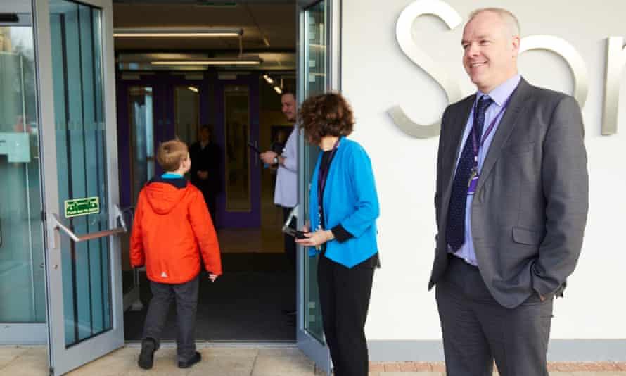 Staff at Springwell academy greet pupils at door