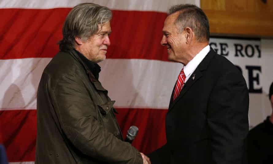 Bannon with Moore at a rally last week.