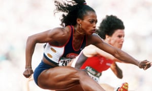 Gail Devers of the United States in action in Atlanta, 1996.