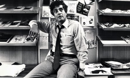 Peter Mayer in the Penguin offices, 1979. Handsome, charming and witty, he was also brave, defending The Satanic Verses, published by Viking Penguin, and refusing to go into hiding when a fatwa was issued against Salman Rushdie.