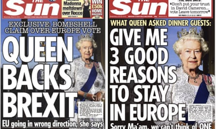 The Sun's royal Brexit double: 9 March, left, and 22 June.