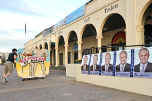 Malcolm Turnbull posters outside Bondi Pavilion on the morning of the 2013 federal election.