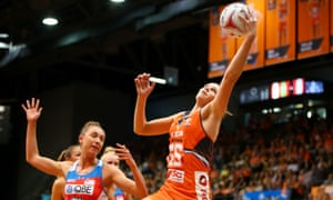 Jo Harten of the Giants reaches out to take a pass during round one of the Super Netball between the Giants and Swifts at Sydney Olympic park.