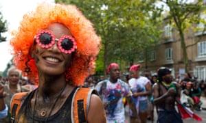 A Notting Hill carnival goer yesterday.