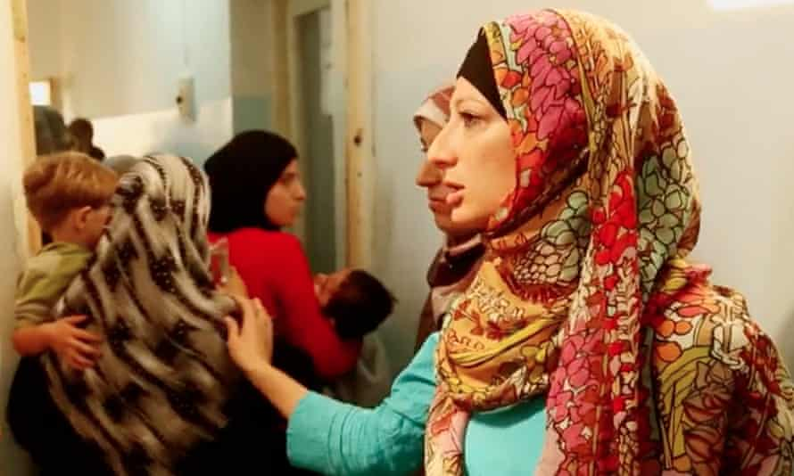 Rola Hallam helping to evacuate parents and children from a hospital in Jabal Zawieh.