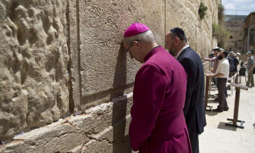 Welby and Britain's chief rabbi, Ephraim Mirvis, visit the Western Wall in Jerusalem's Old City.