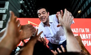 Alexis Tsipras greets supporters during a rally in Athens, two days ahead of a general election.