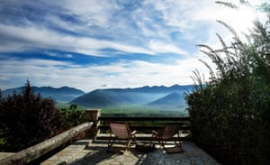 View of misty mountains from terrace of Villa Vager, Arcadia Peloponnese, Greece