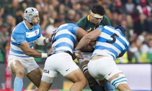 South Africa flanker Francois Louwe is tackled