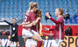 Kathrin Hendrich (No 3) celebrates after making it 2-0.