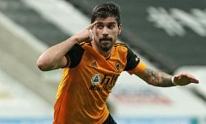 Wolverhampton Wanderers' Ruben Neves celebrates after scoring their equaliser.
