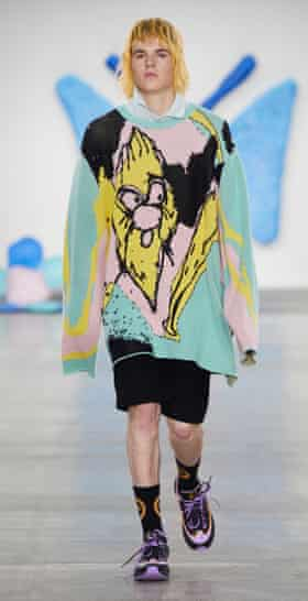 Liam Hodges' SS20 menswear collection, featuring motifs, prints and intarsia knits from his collaboration with Alfie Kungu.