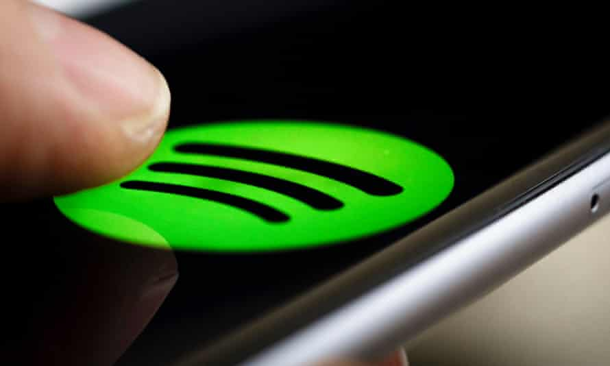 After users tap on the icon, Spotify suggests a number of typical requests for a voice-controlled music system.