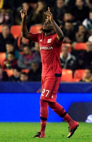 Lyon's Maxwel Cornet celebrates after scoring the opening goal.
