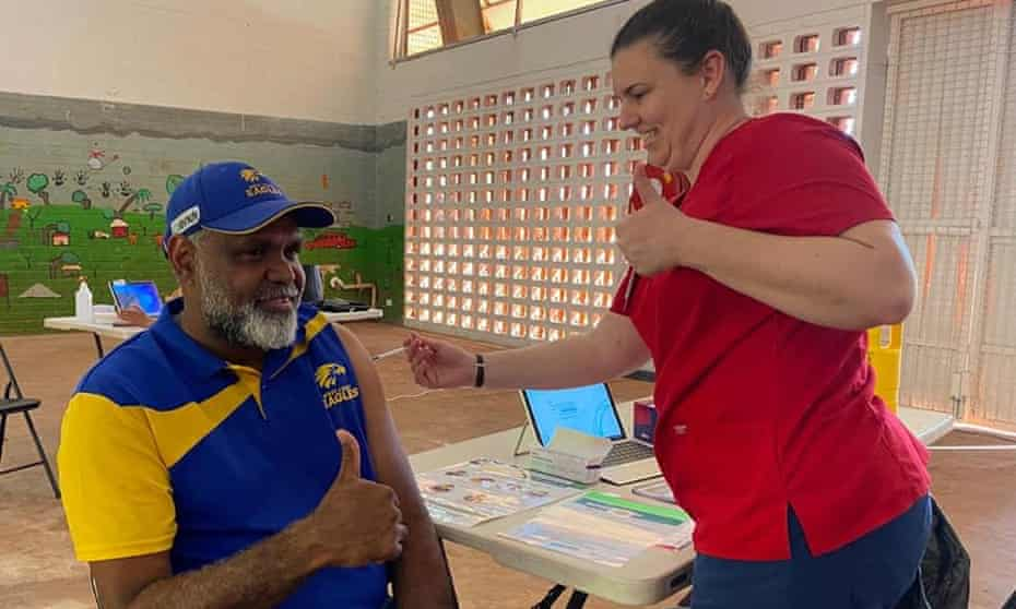 A man gets a Covid jab in Maningrida, Northern Territory