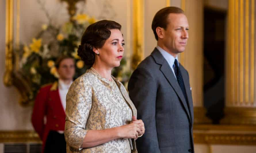 Olivia Colman and Tobias Menzies as the Queen and Prince Philip in the Crown.