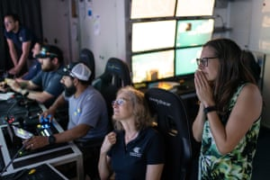 Dr Karen Miller (second from right) and Dr Nerida Wilson watch the ROV SuBastian during dive 408. Dr Karen Miller is principal Investigator and leading the expedition alongside other scientists from Western Australian Museum, University of Western Australia and Curtin University.