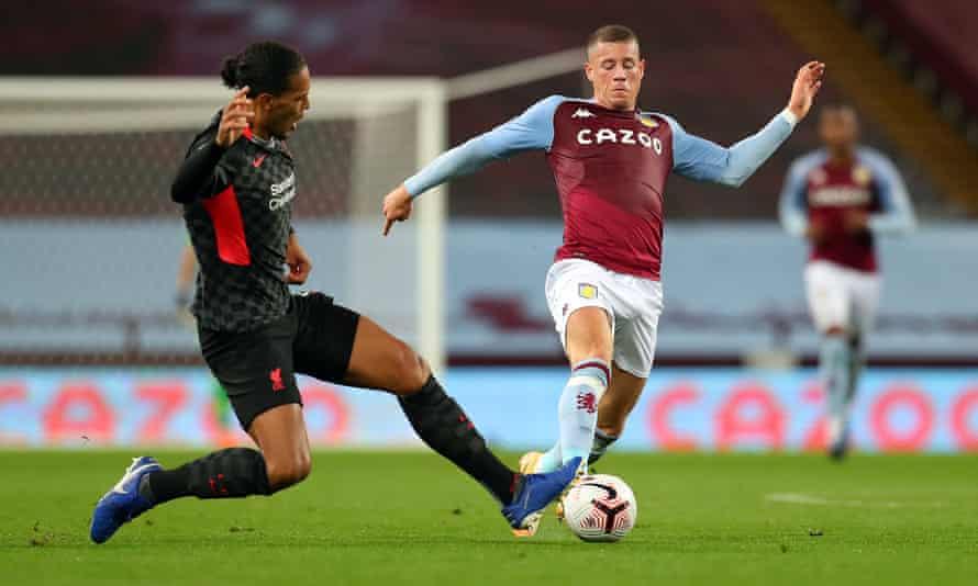 Virgil van Dijk challenges Aston Villa's Ross Barkley during Liverpool's 7u-2 defeat at Villa Park in the Premier League on 4 October 2020.