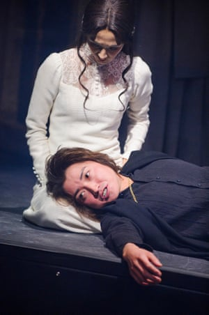 Hikari Mitsushima (Ophelia) and Tatsuya Fujiwara (Hamlet) in a production by Ninagawa Company, at the Barbican theatre, London, in 2015. Directed by Yukio Ninagawa.