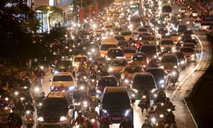 Cars are stuck in heavy traffic at a street in Hanoi, Vietnam, 08 January 2016.