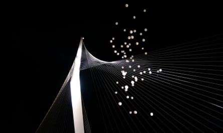 Balloons are released into the air during the celebration for the inauguration of the Chords Bridge in Jerusalem. (AP Photo/Tara Todras-Whitehill)