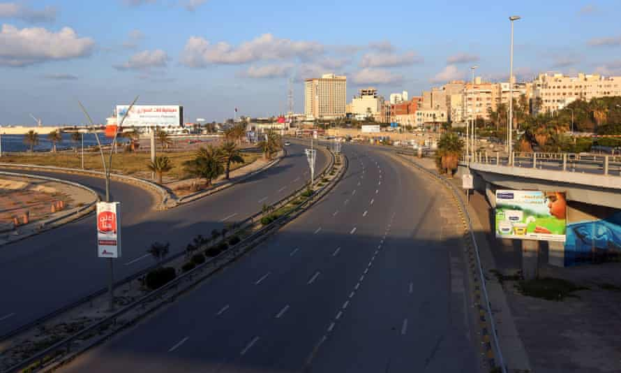 Empty roads in Tripoli, where the government has imposed lockdown measures against coronavirus.