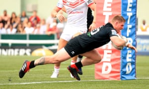 Luke Yates crosses for one of five London Broncos tries against St Helens.